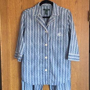 Ralph Lauren 2 pc Blue Stripe Pajamas